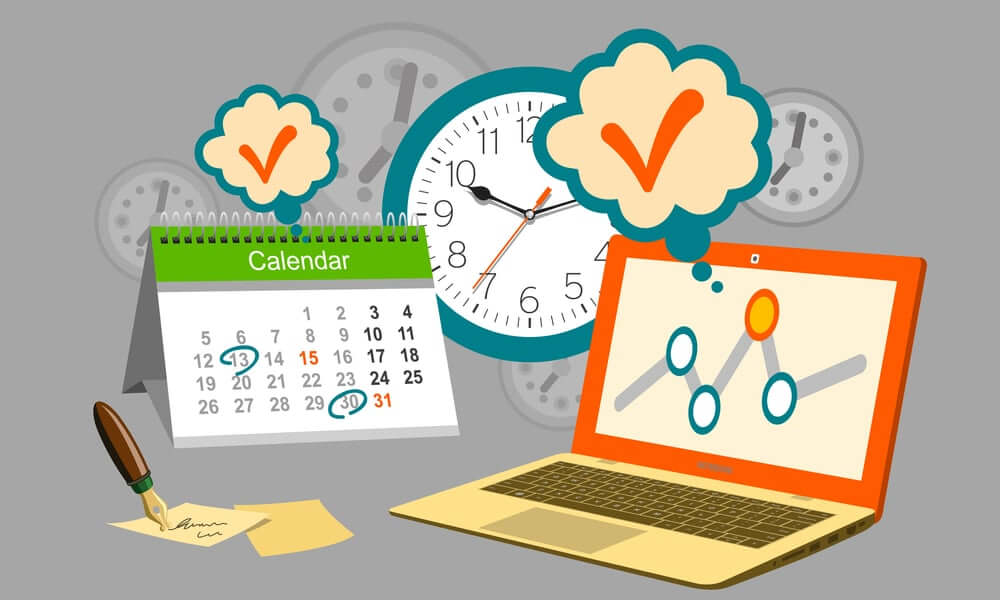 computer, calendar, and clock with check marks and due dates to communicate deadlines