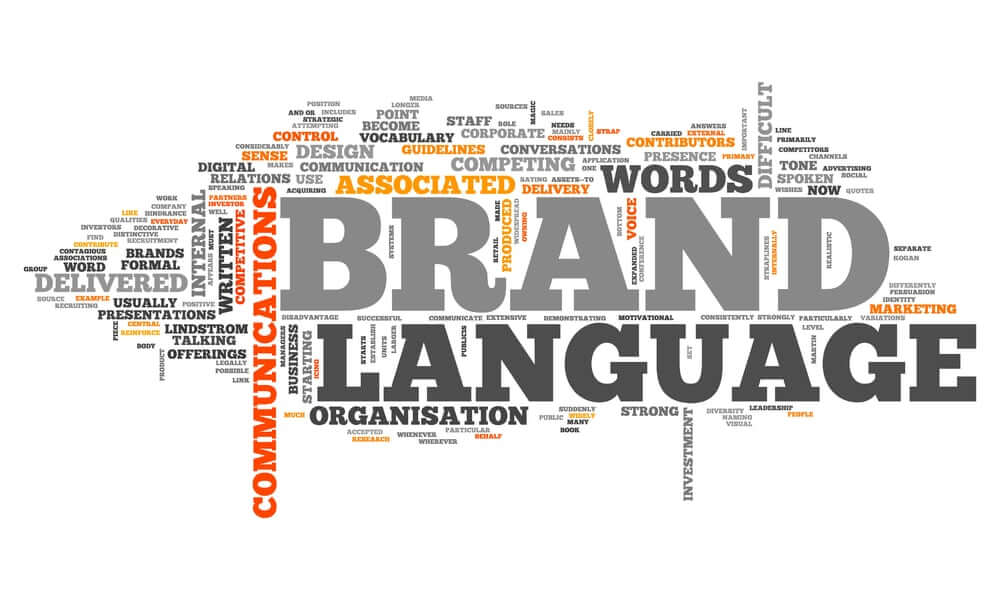 word cloud showing brand language and communications.