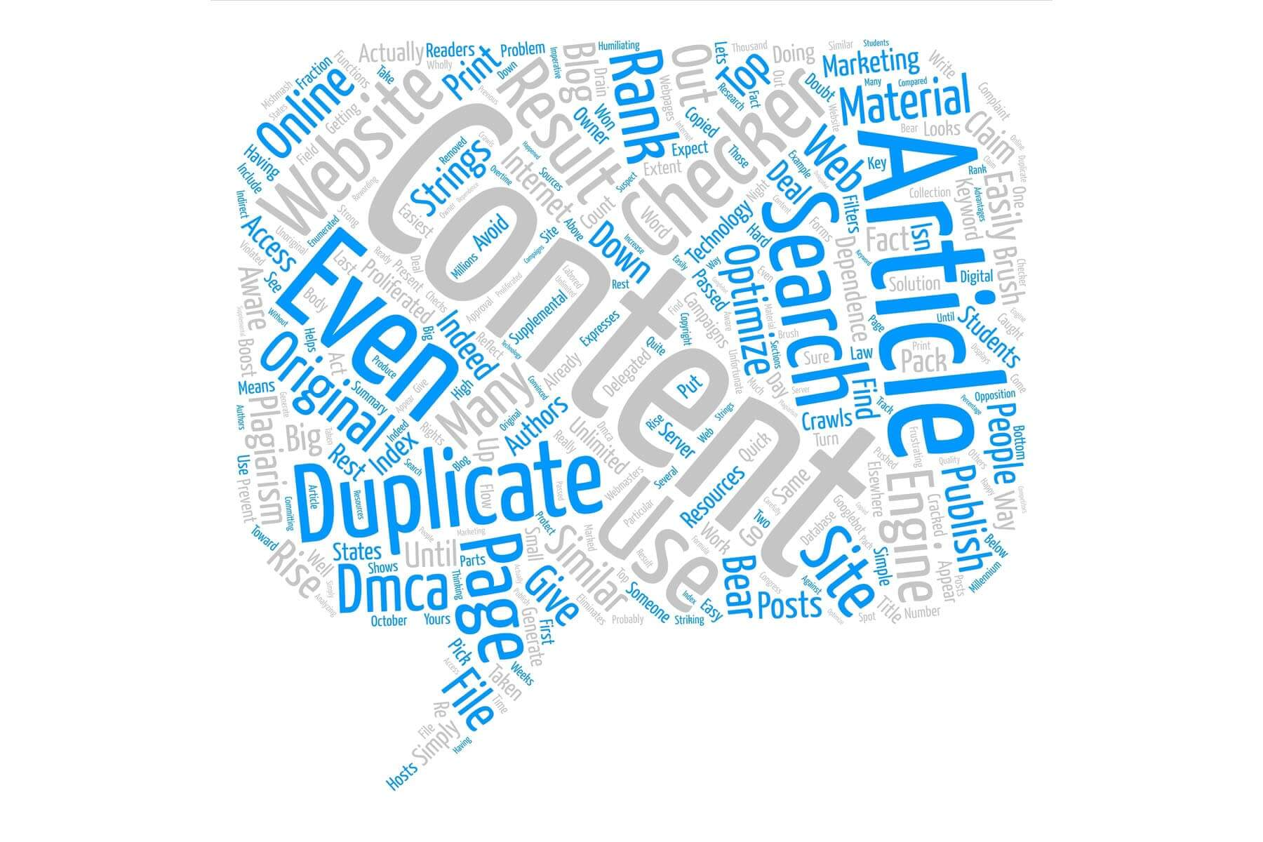 word cloud with duplicate content and other related SEO words