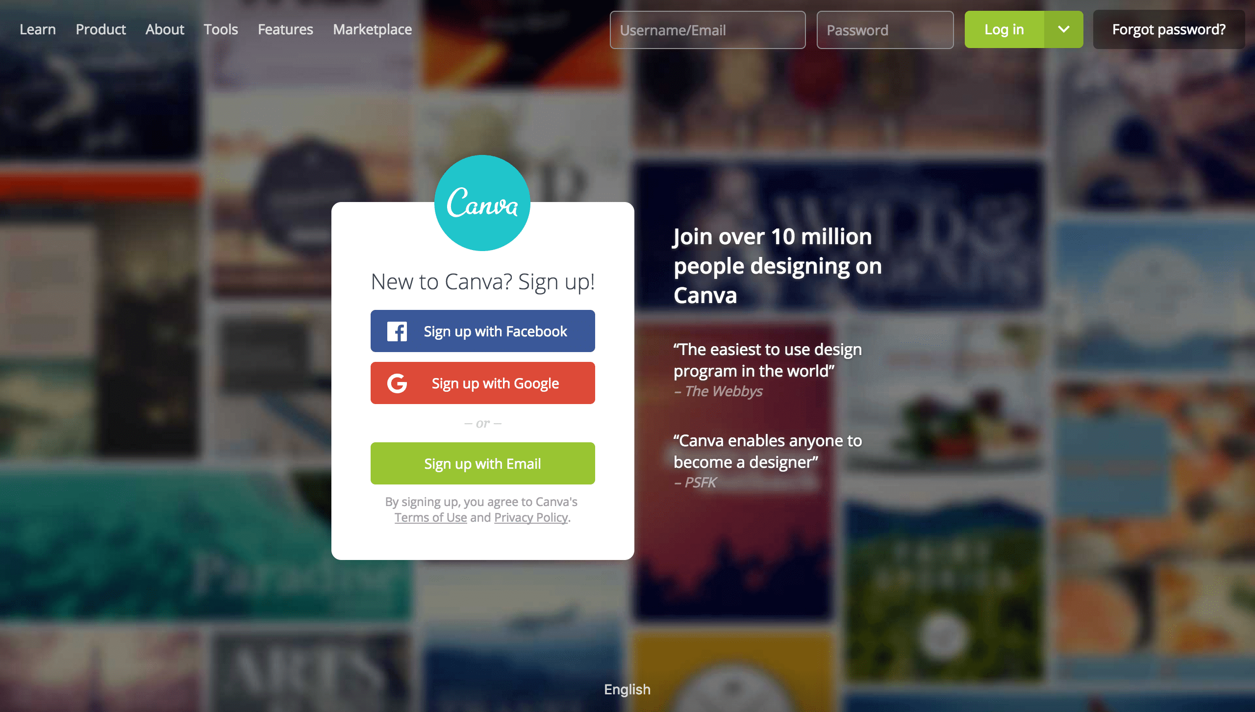 canva sign up form