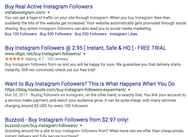 buying instagram followers google search examples