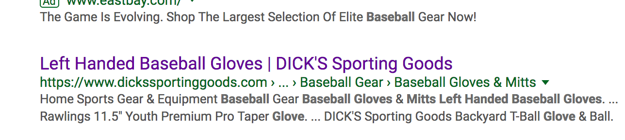 left handed baseball glove search