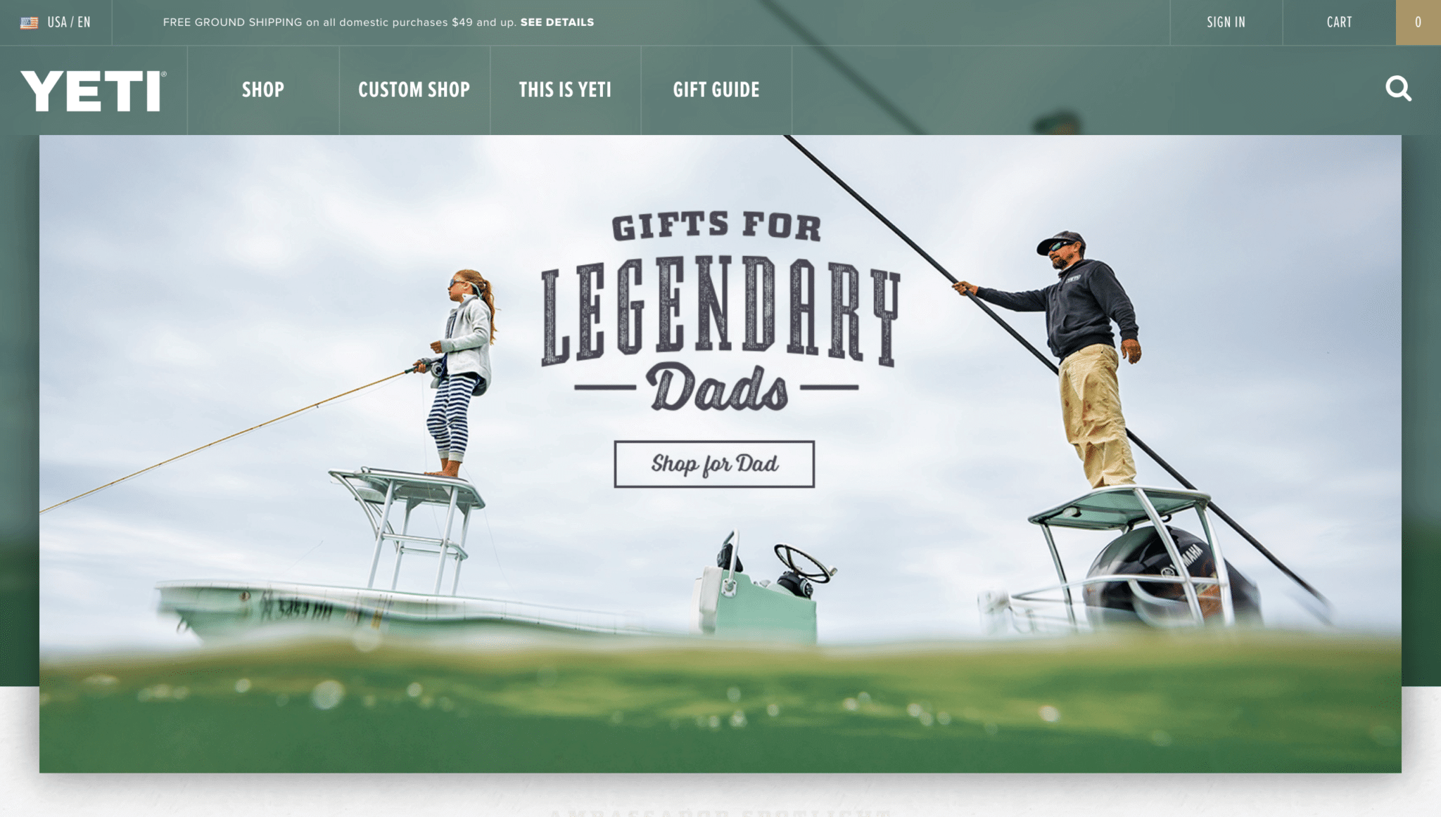 Home page design for Yeti.