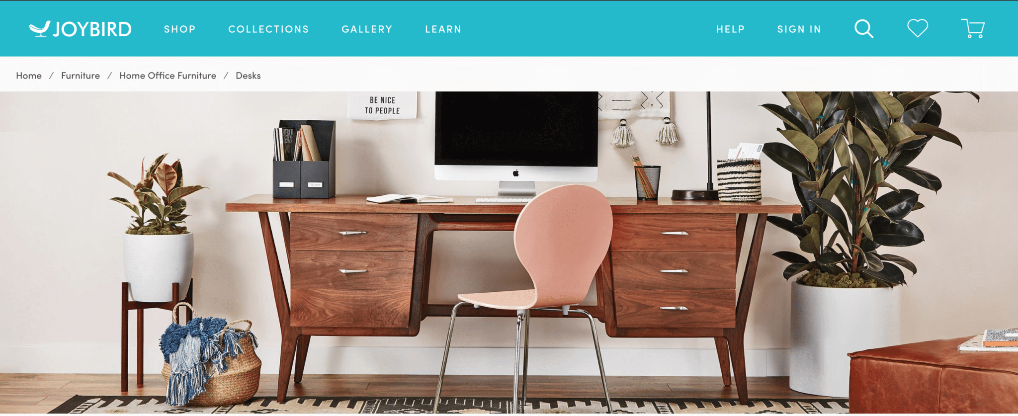 Joybird breadcrumb navigation showing the progression Home > Furniture > Home Office Furniture > Desks