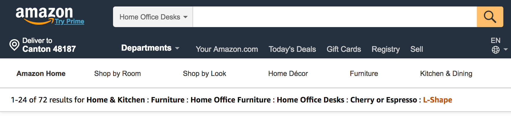 Amazon breadcrumb navigation showing progression from Home & Kitchen > Furniture > Home Office Furniture > Home Office Desks > Cherry or Espresso > L-shape