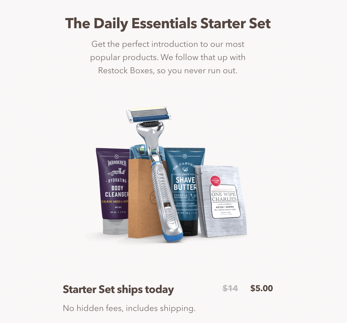 Dollar Shave Club's daily essentials starter kit offers a range of products for just five dollars.