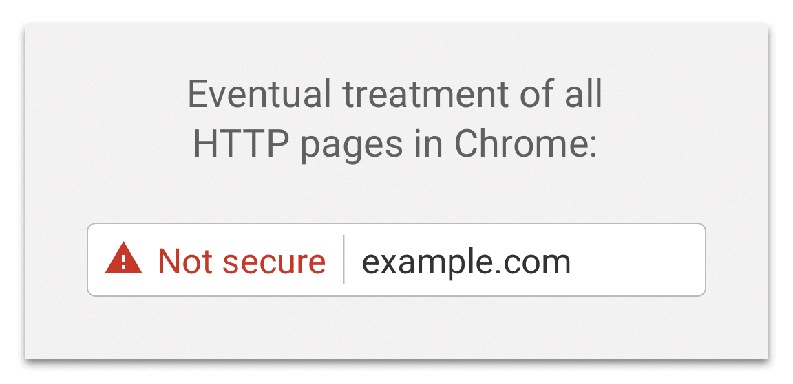 "An example of Chrome's updated warning which includes a red warning sign and the words ""not secure."""
