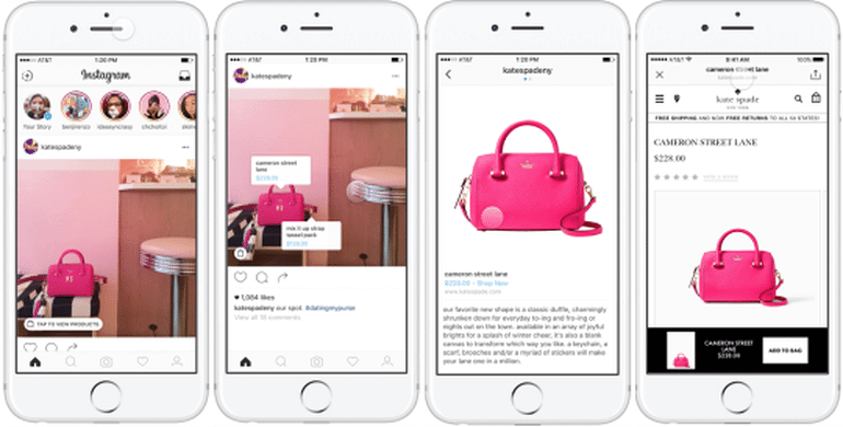 instagram shoping tags on pink bag