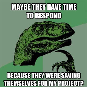 Maybe they have time to respond because they were saving themselves for my project?