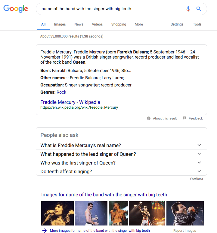 Google Search Results for Queen and Freddie Mercury