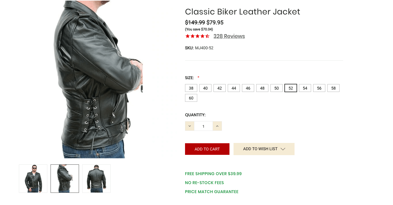 An example of the purchasing page for a classic leather biker jacket.