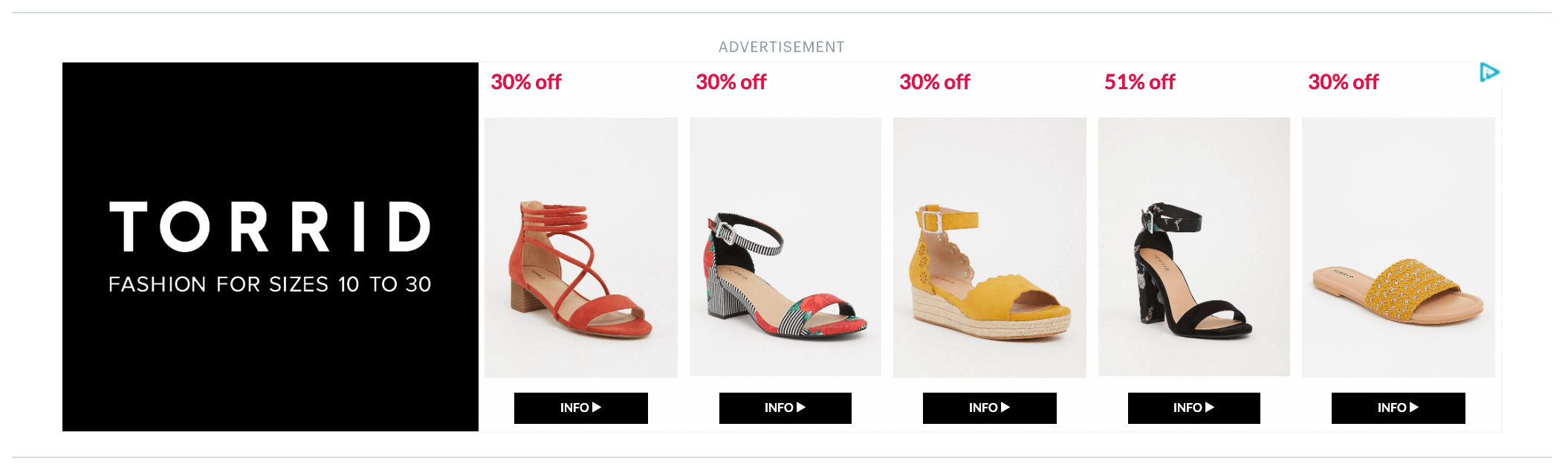 Example of an online ad for Torrid shoes demonstrating an effective multichannel marketing strategy.