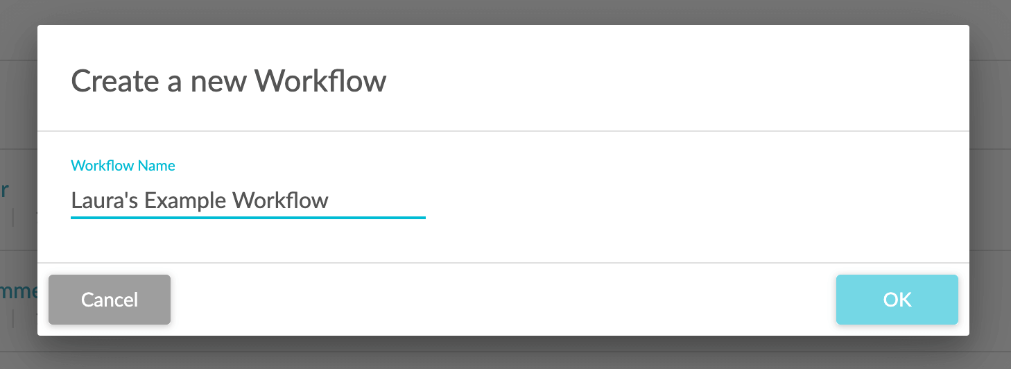 An example of naming a workflow in sharpspring