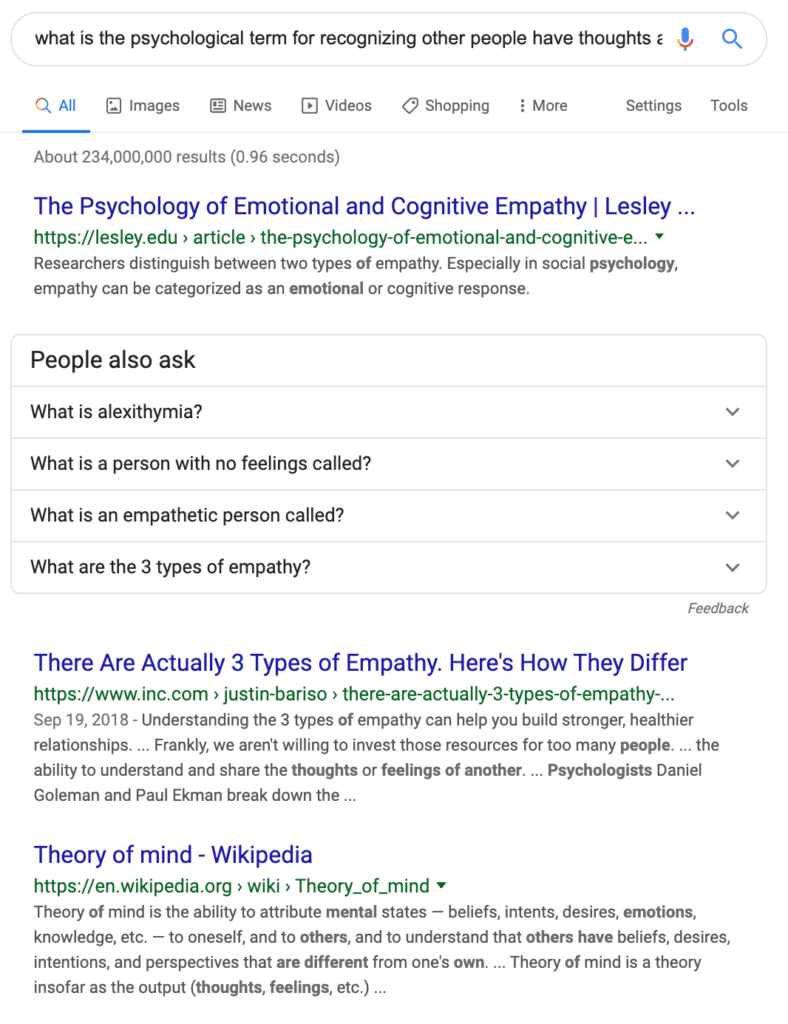 "Search results showing Wikipedia's ""Theory of Mind"" article ranked third."